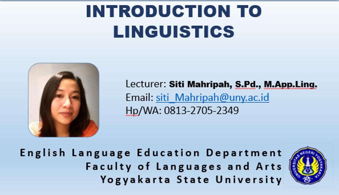 Introduction to Linguistics_Siti Mahripah