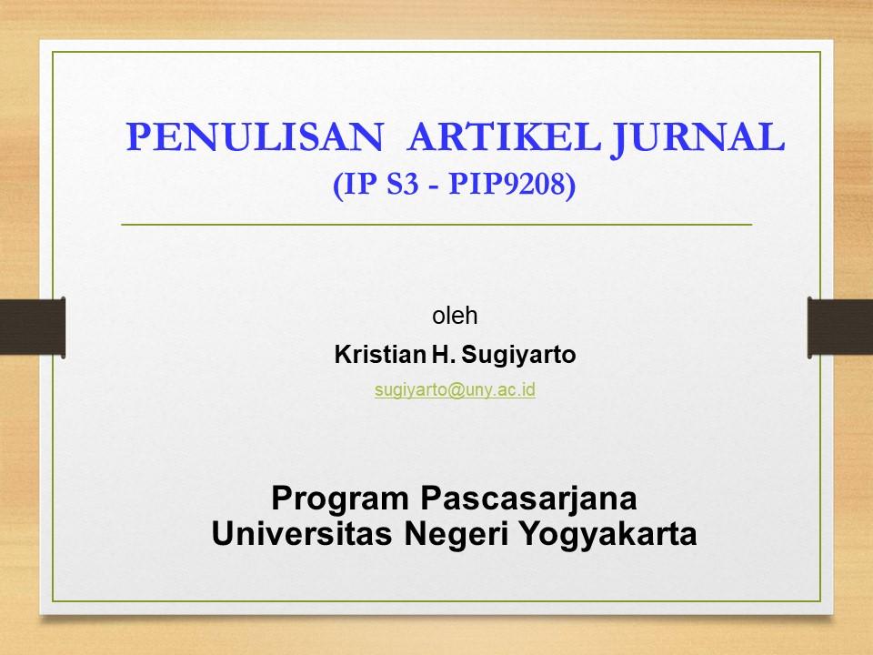Penulisan Artikel Jurnal - PAJ (S3 IP)
