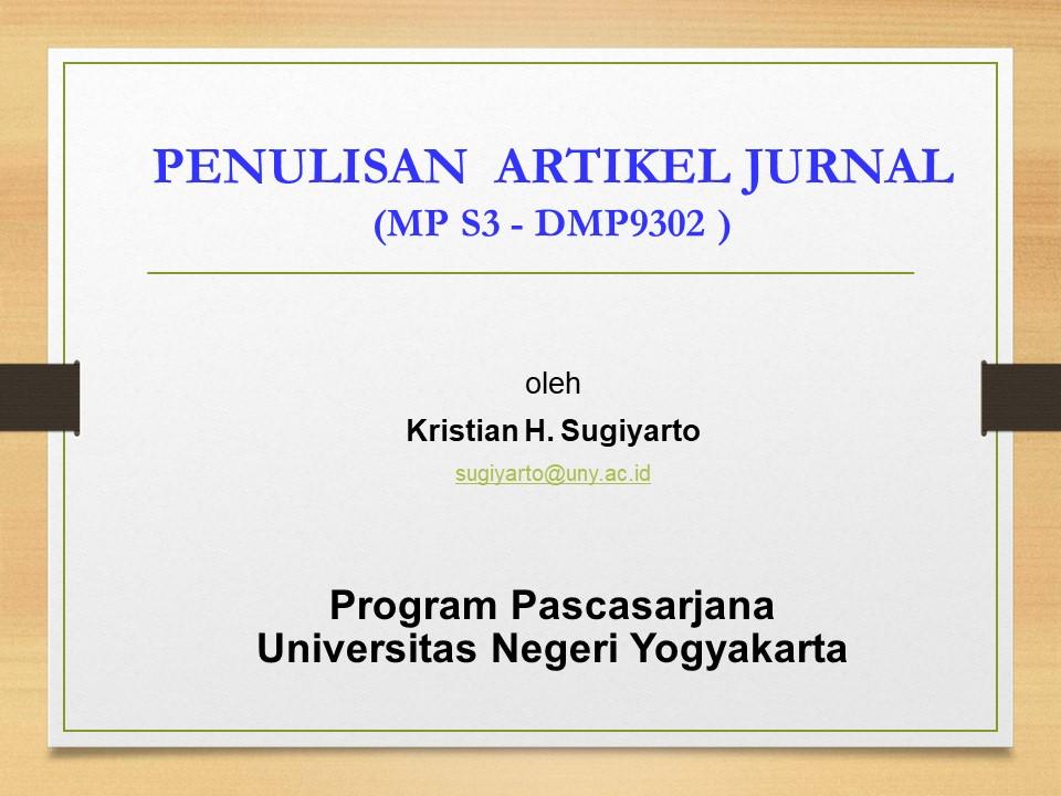 Penulisan Artikel Jurnal - PAJ (S3 MP)