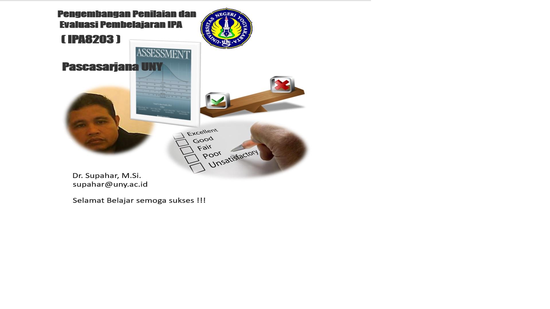 Pengembangan Penilaian dan  Evaluasi Pembelajaran IPA